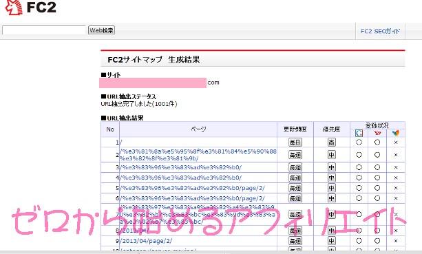 FC2サイトマップ作成結果1